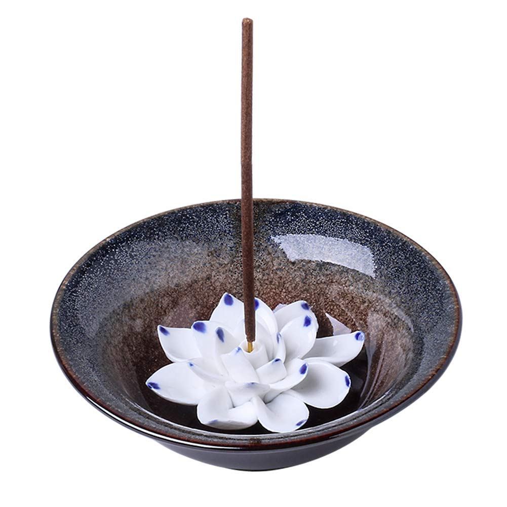 Uniidea Incense Burner Bowl, Ceramic Handicraft Incense Holder for Sticks, Coil Lotus Ash Catcher Tray 4.62 Inch Gray by Uniidea (Image #1)
