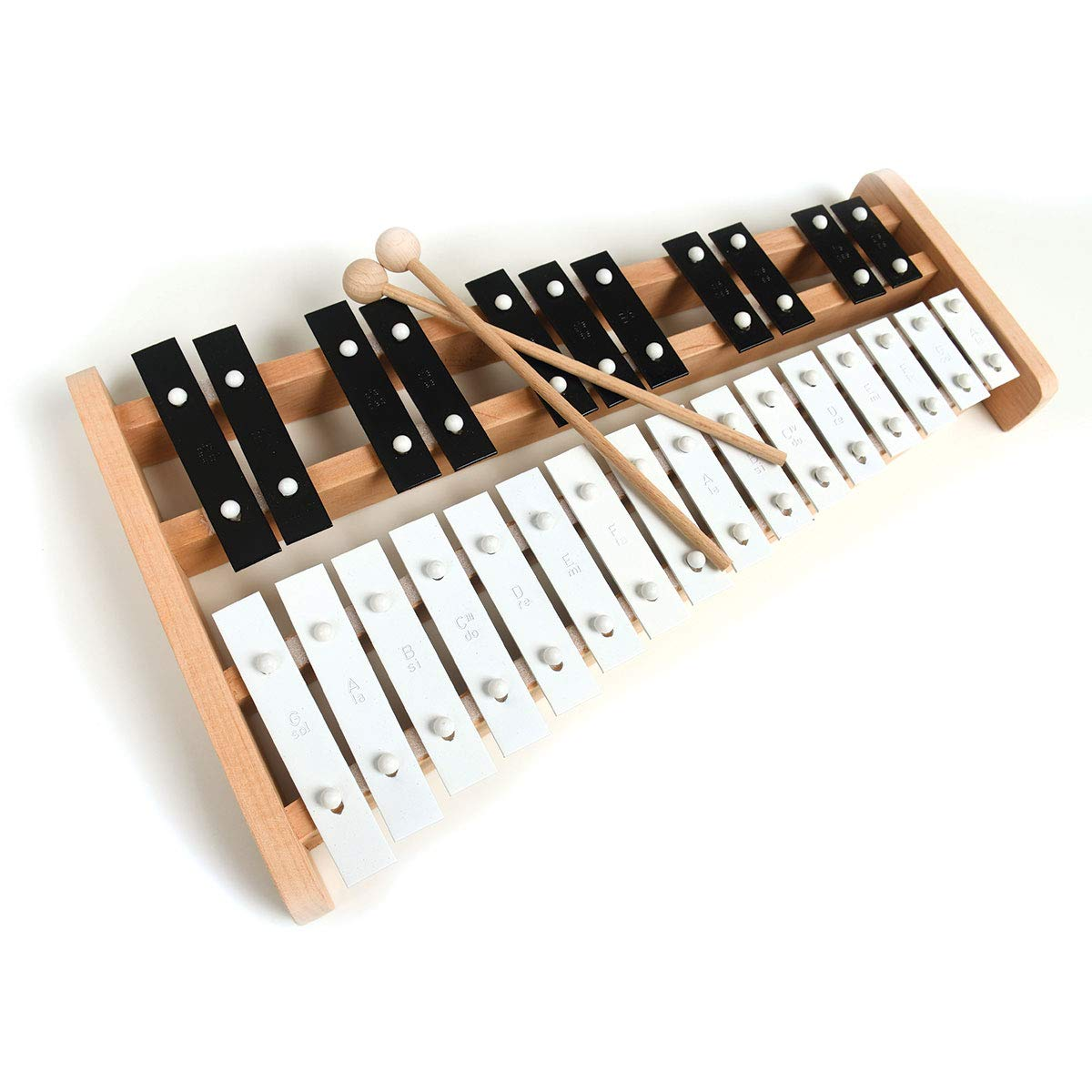 Professional Wooden Soprano Full Size Glockenspiel Xylophone with 27 Metal Keys for Adults & Kids - Includes 2 Wooden Beaters by Cara & Co
