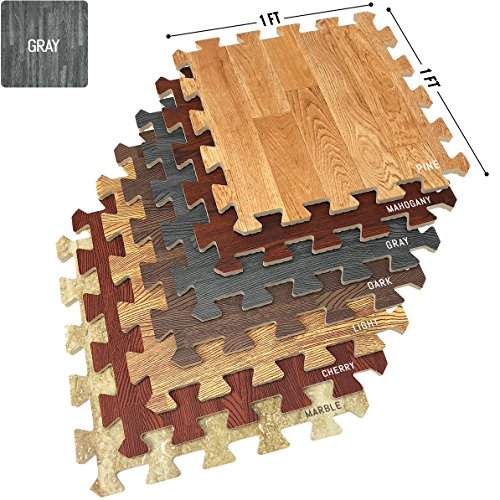 Sorbus Wood Floor Mats Foam Interlocking Wood Mats Each Tile 1 Square Foot 3/8-Inch Thick Puzzle Wood Tiles with Borders - for Home Office Playroom Basement (16 Tiles 16 Sq ft, Wood Grain - Gray) ()