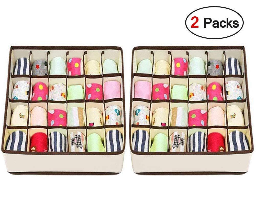 24/Celdas Plegable Ropa Interior Cajas de Almacenamiento para almacenar Calcetines joyoldelf 2/Paquetes Textil organizadores caj/ón divisores Sujetador Bufandas