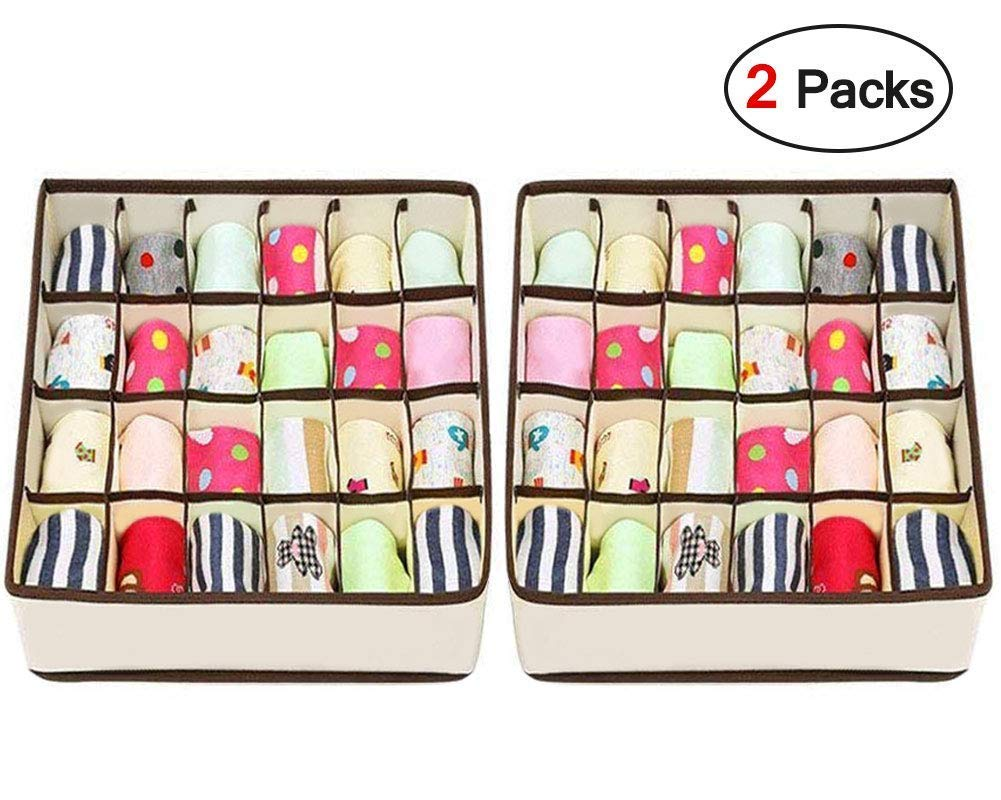 joyoldelf 2 Paquetes Textil organizadores cajón divisores, 24 Celdas Plegable Ropa Interior Cajas de Almacenamiento