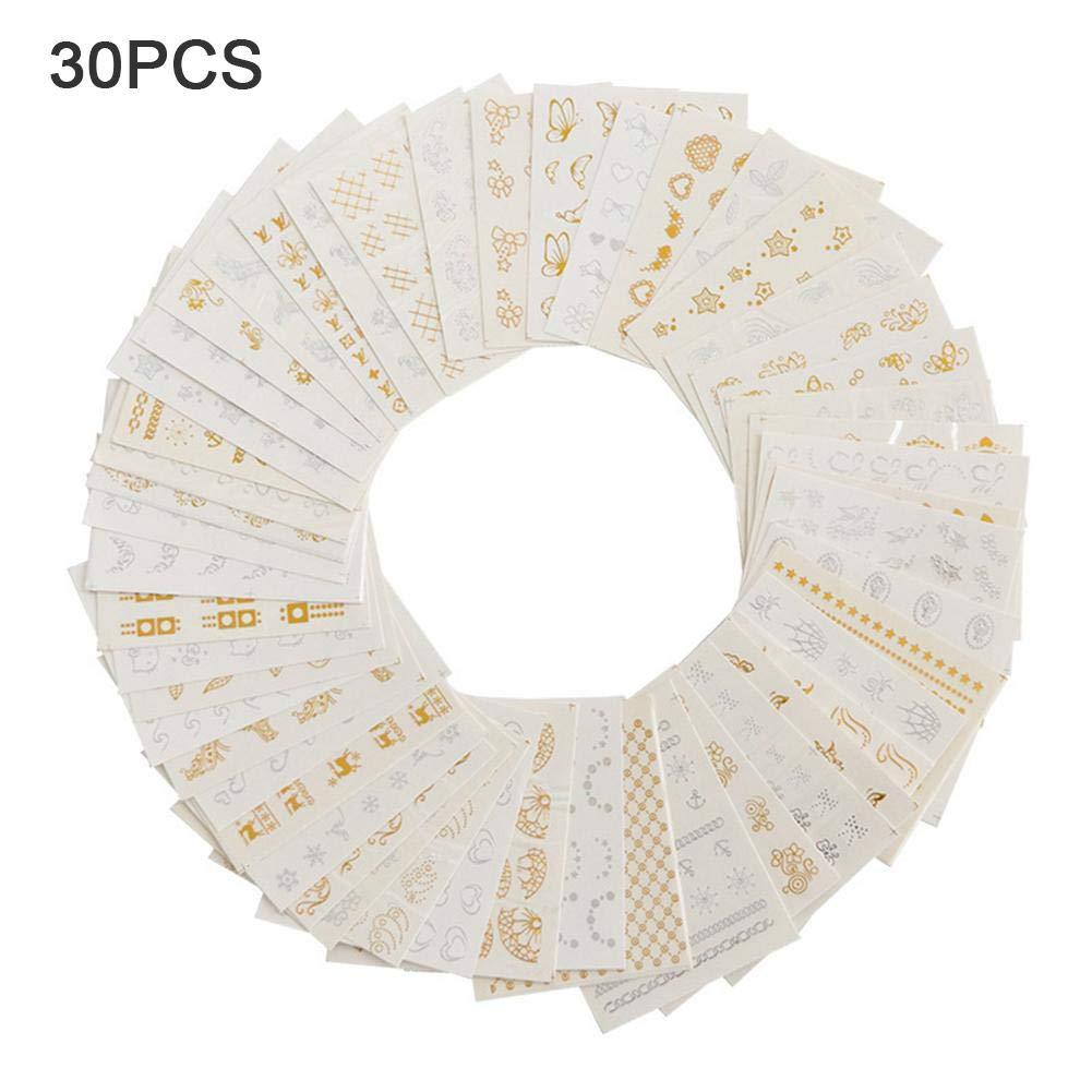 30 piezas de uñas Pegatinas de arte, oro y plata bronceado pluma flor araña sueño receptor en forma de clavo de transferencia de uñas calcomanías diseños de manicura herramientas de belleza Ruier-hui