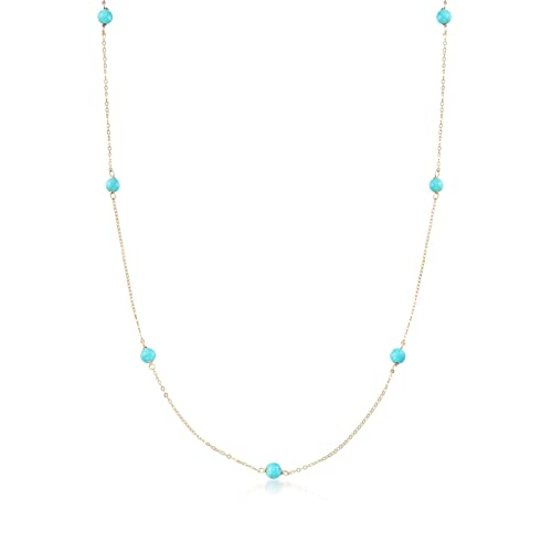 Ross-Simons Italian 4mm Turquoise Station Necklace in 14kt Yellow Gold