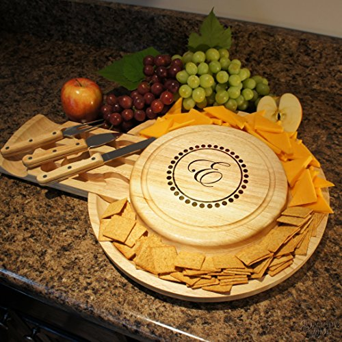 Personalized Cheese Board Serving Tray with Cheese Tool Set with Monogram Design Options