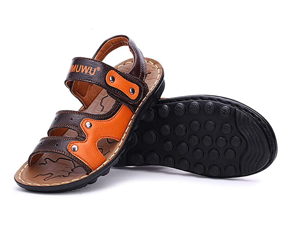 Feet Length 16CM PANDA SUPERSTORE Fashion Boys Outdoor Casual Beach Sandal Leather Shoes Brown