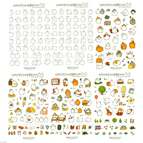 Korean Japanese Style Cute Bunny Rabbit Character Sticker Diary Scrap Book Scrapbooking Decor Decoration 6 Sheets Lot Bunny Rabbit Stickers