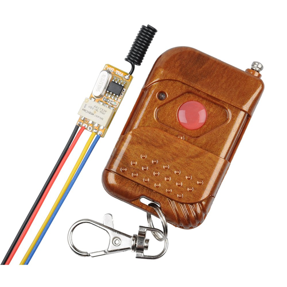12V Wireless Remote Control Relay Switch, Secure 1-Channel 433MHz Receiver with Transmitter for LED Lights, Cars, Battery Power Switch & More (Toggle Switch) 3.7V 4.5V 5V 6V 7.4V 9V 12V