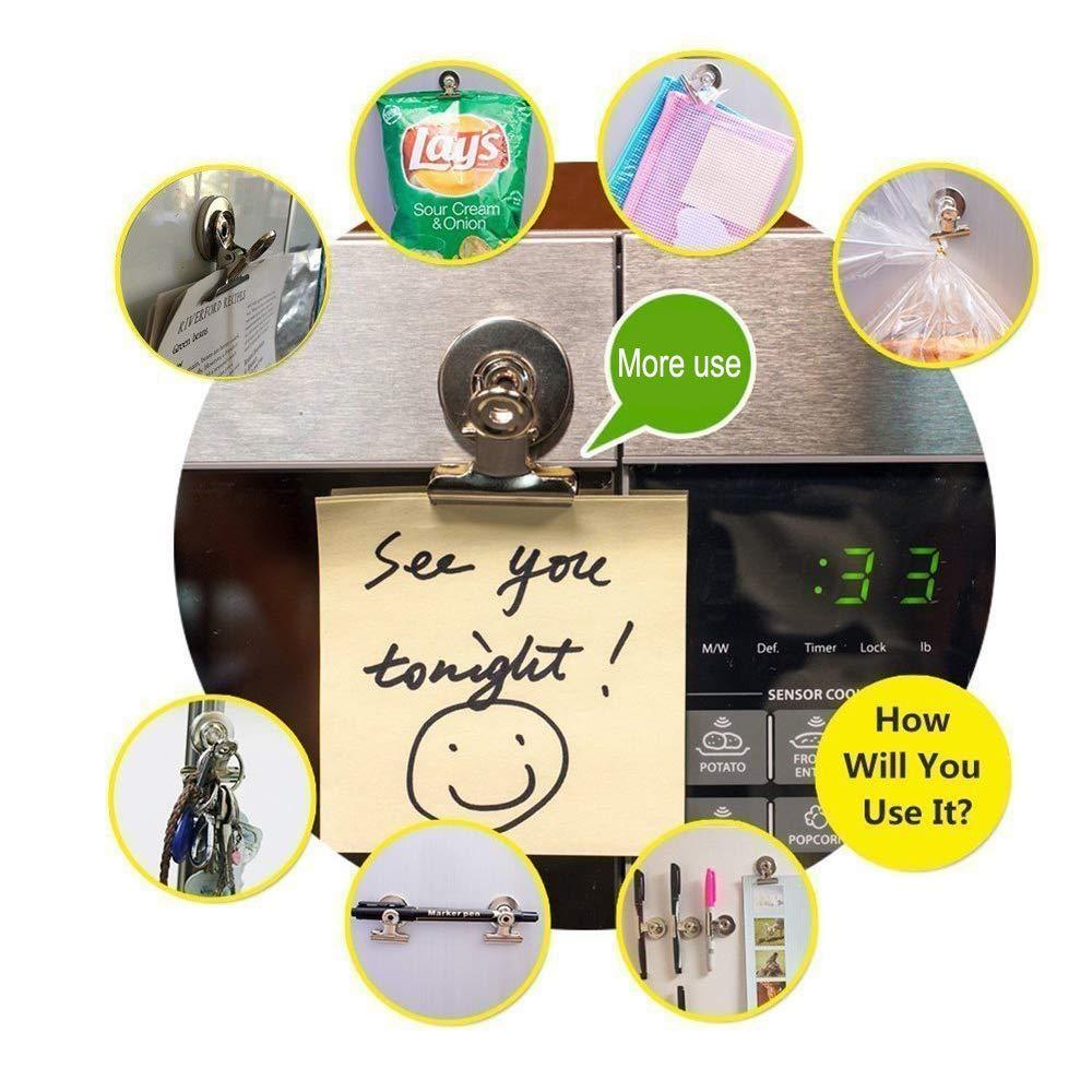 Clips Magn/éticos Clips Clips de Gancho Im/án Fuerte 8 Pcs Clip Magn/ético de Neodimio Imanes Resistentes a los Ara/ñazos Perfecto para la Cocina Refrigerador Calendario Congelador Casa Oficina Colegio