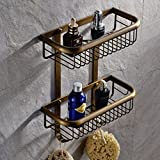 Wall Mount 2 Tiers Dual Rectangle Wire Baskets Bathroom Shower Caddies Cosmetic Storage Holder Shelf (antique brass Finish)
