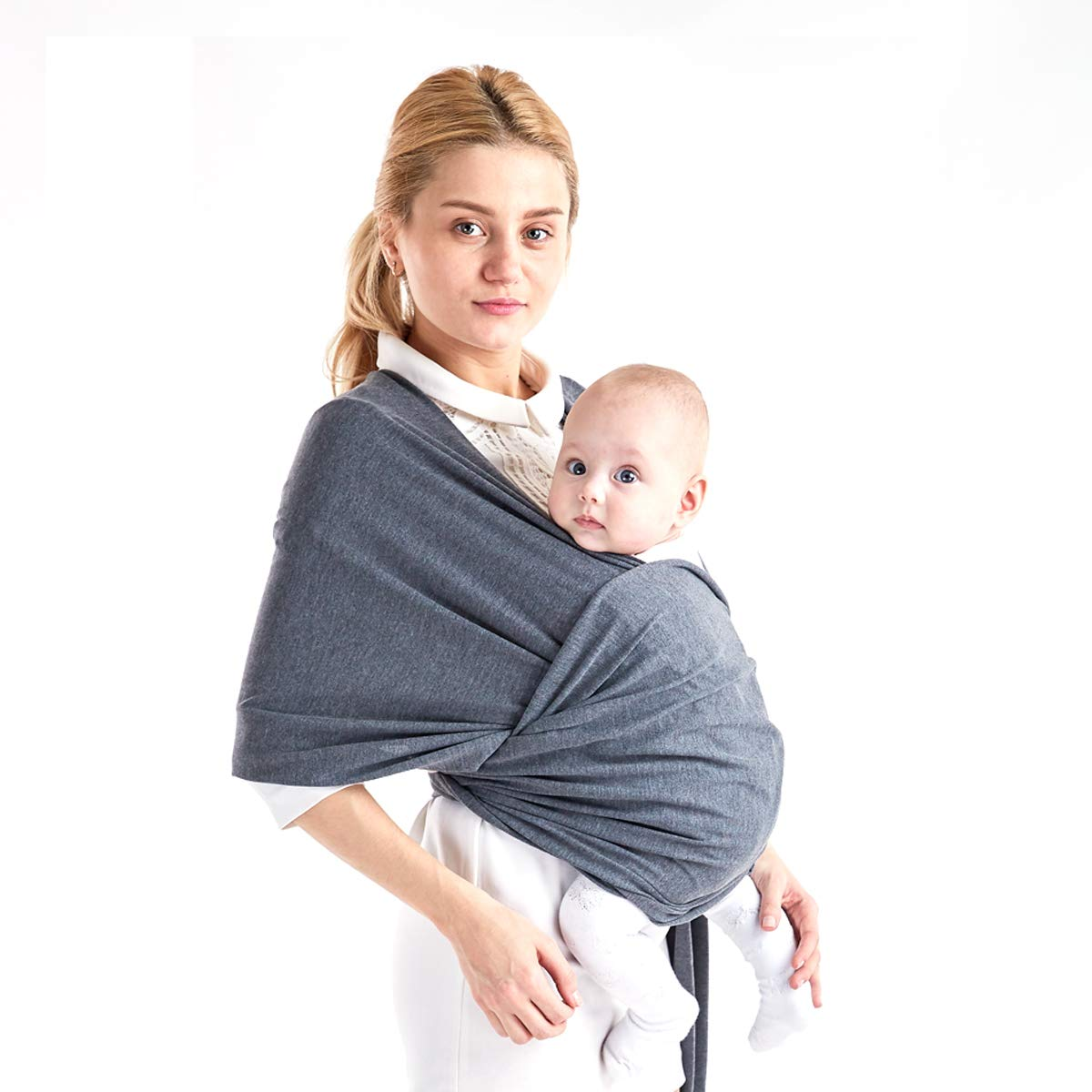 Baby Wrap Carrier Adjustable Breastfeeding Cover Cotton Sling Baby Carrier for Infants up to 35 lbs/15kg, Soft and Comfortable Standard Baby Wrap: Light, Lush and Breathable Baby Slings (Black) Three co