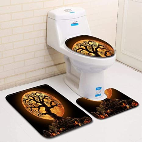cocal 3pcs special halloween bathroom set pumpkin lantern toilet seat cover and rug bathroom set halloween