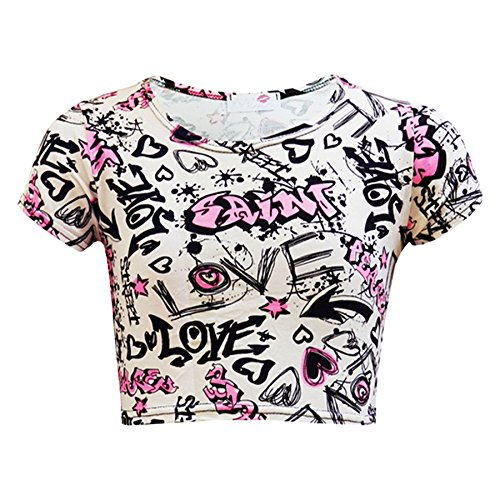 Girls Tops Kids Love Paris NYC #SELFIE Crop Top & Double Layer Skater Skirt 7-13 by A2Z 4 Kids® (Image #1)