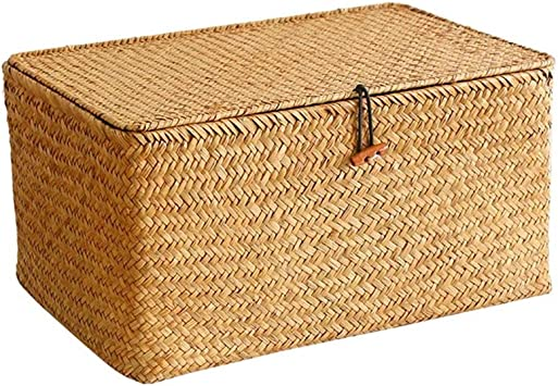 Set of 3 Rectangular Seagrass Basket//Storage Basket for Shelf Organizer Yesland Woven Wicker Storage Bins with Lid
