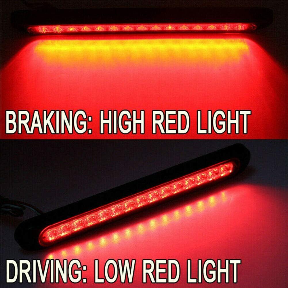 Rojo Monland 2 Piezas 10 Pulgadas 15 LED Cami/óN Remolque RV Barra de Luz de Giro de Freno Trasero de Cola de Parada Las Luces de Posici/óN Laterales Traseras de Parada Resistente al Agua