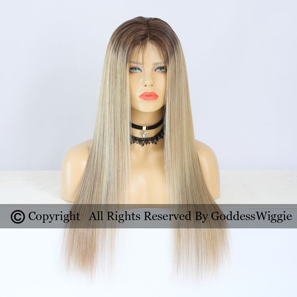 Balayage Dark Root Glueless Silky Straight Highlight Blonde Human Hair Lace Front Wigs (20inch 150density)
