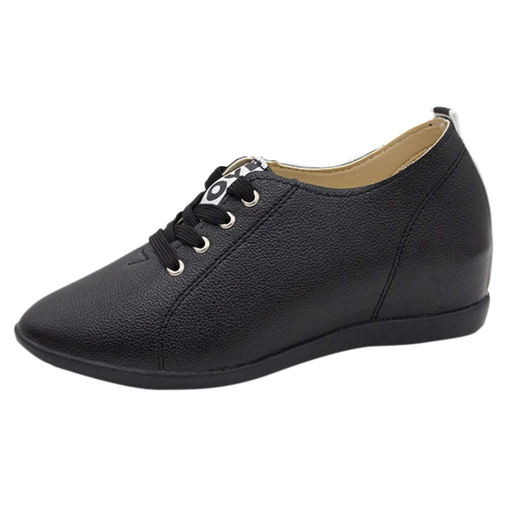 Reokoou Women Fashion Casual Round Toe Flat with Increase Within Shoes Spring and Summer