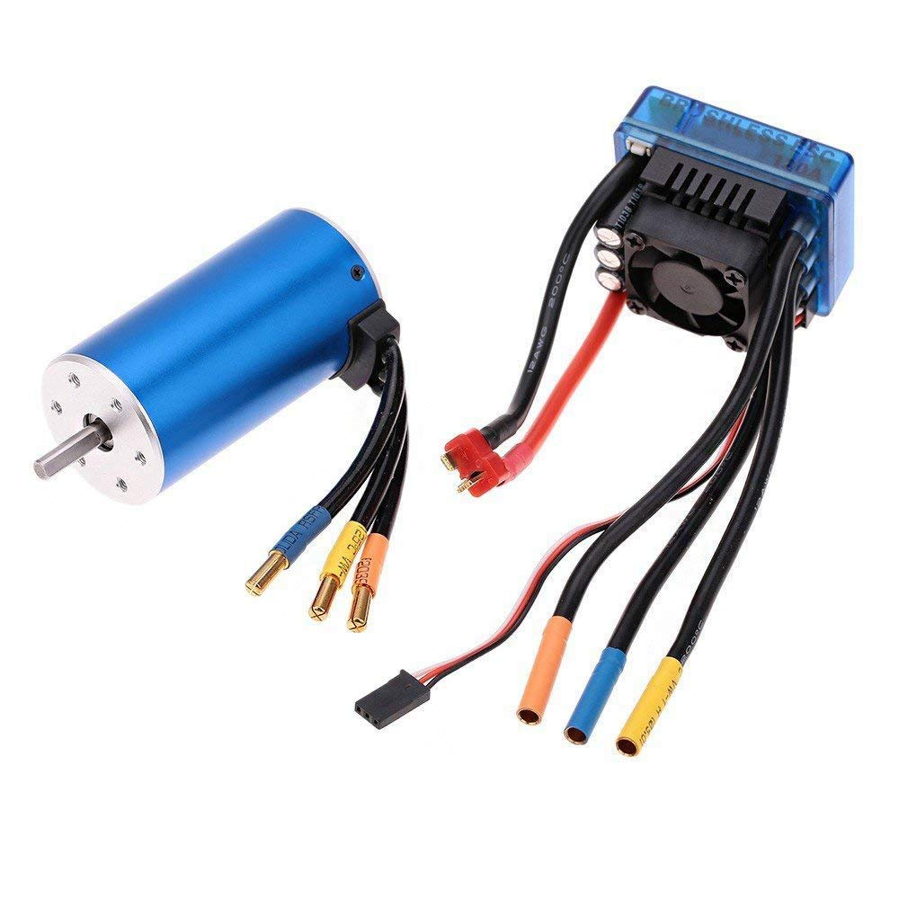 Cikuso 3670 1900KV 4P Sensorless Brushless Motor with 120A Brushless ESC(Electric Speed Controller) for 1 8 1 10 RC Auto Car Truck