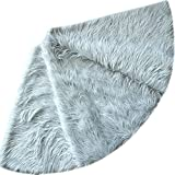 X.Sem Deluxe 36'' Mongolia Faux Fur Holiday Decoration Christmas Tree Skirt Silver (50 inch)