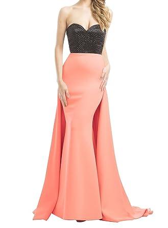 Kings Love Sweetheart Prom Dresses Long Mermaid 2017 Sleeveless Sweep Train Rhinestone Prom Gowns Coral US2