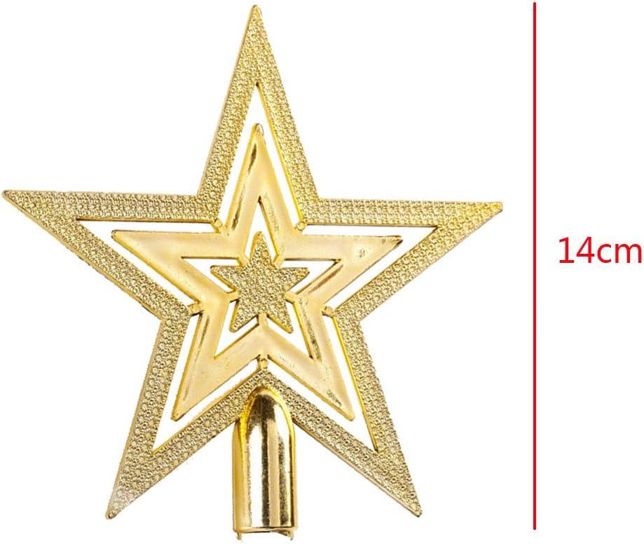 14CM Yunt D/écoration Suspendu No/ël Etoile pour Sommet Sapin Arbre No/ël