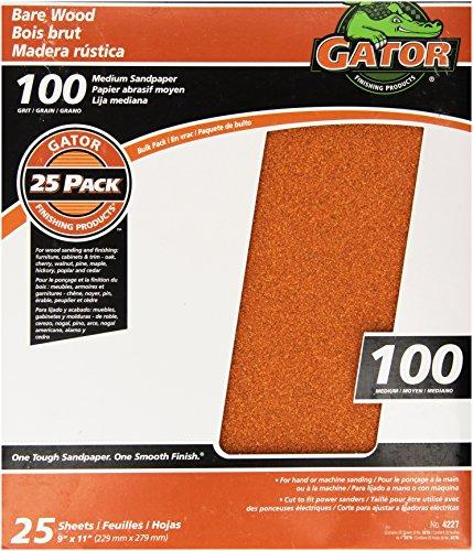 Gator Finishing 4227 100 Grit Bare Wood Sanding Sheets (25 pack), 9