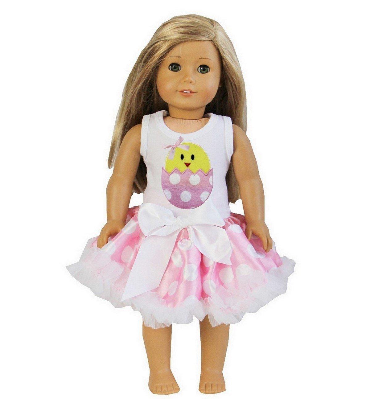 18 American Girl Doll Pink Polka Dots Pettiskirt Easter Egg Chick Tee Ameda