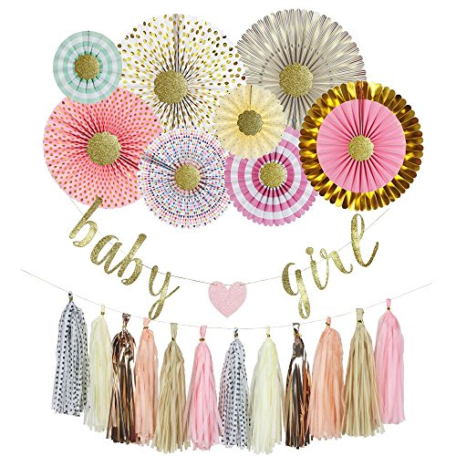 Yara Baby Shower Decorations Kit For Girl| Pink and Gold Party Supplies| Pastel Paper Fans| IT'S A GIRL| Pink Party Decorations| Baby Girl Banner| Hanging| Tassels| Garland| 29 (Baby Shower Decoration For Girls)