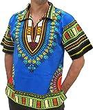 RaanPahMuang European Collar Short Sleeve Afrika Print Shirt African Dashiki Art, Large, Iris Blue