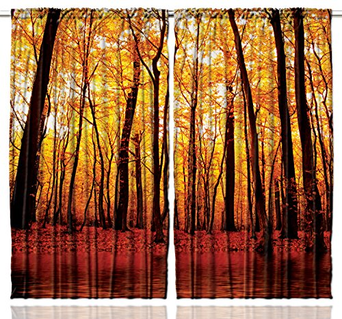 Golden Orange Tree - Ambesonne Nature Curtains 2 Panel Set, Forest Trees in the Fall Orange Golden Leaves Lake Woodsy Design Farmhouse Decoration, Living Room Bedroom Decor, 108 W X 84 L Inches, Brown Orange