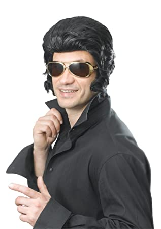 NEW BLACK ELVIS WIG & SIDEBURNS THE KING FANCY DRESS (peluca)