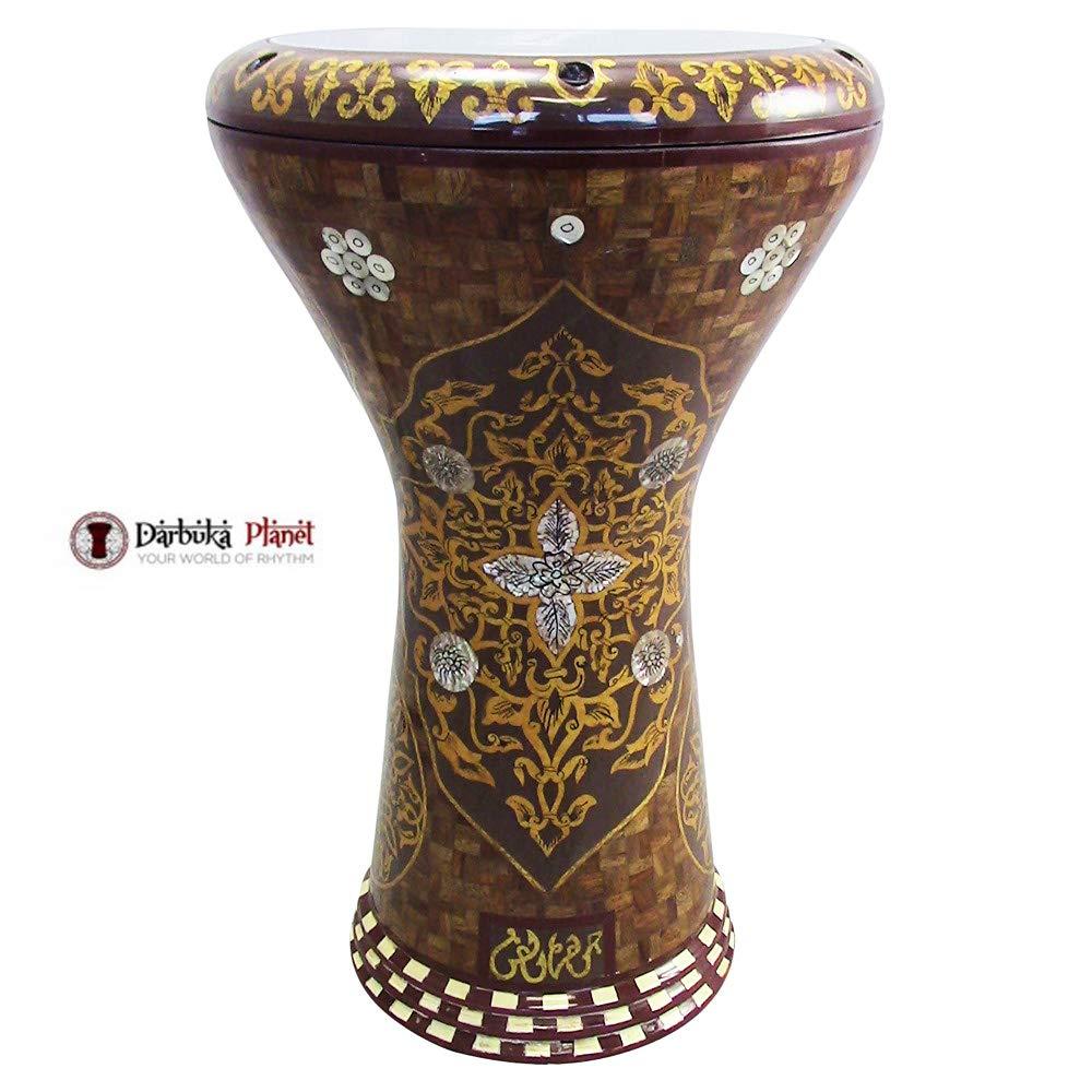 Gawharet El Fan 17'' Mother of Pearl Darbuka''Yellow Flower'' Darbuka Drum Percussion