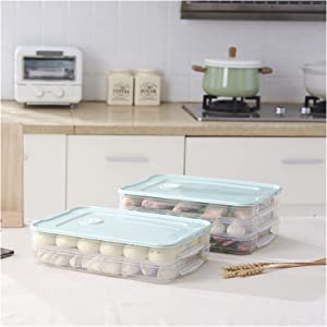 Multi-Layer Dumplings Box Household Refrigerator Multi-Layer Tray Kitchen Food Storage Container Plastic Containers With Lids 529 (Color : Blue, Number of Tiers : 2 layer and 1 cover)