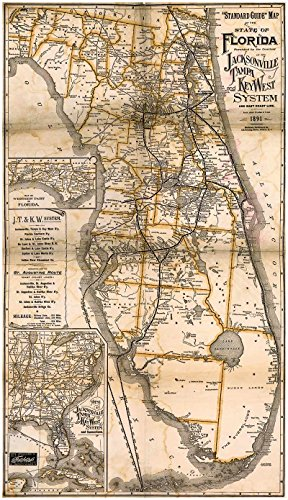 MAP of Florida's TROPICAL TRUNK LINE Railroad by the Matthews-Northrup Company circa 1891 - measures 42' high x 24' wide (1067mm high x 610mm wide)