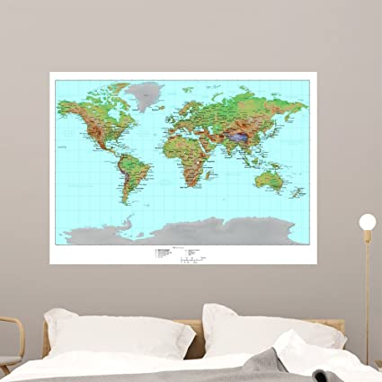 Amazon wallmonkeys topographical world map wall mural peel and wallmonkeys topographical world map wall mural peel and stick graphic 48 in w x 35 gumiabroncs Images