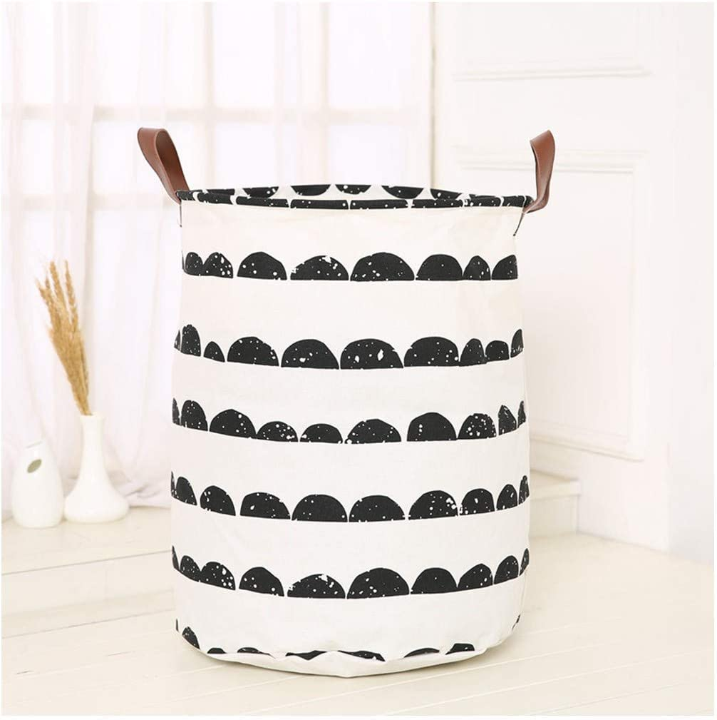 yqs Storage Box Dirty Hamper Storage Dirty Hamper Dirty Clothes Hamper Household Toys for Children: Bucket Leather Handle, Waterproof Cotton Linen Laundry Basket (40 X 50Cm),Speckled Semicircle