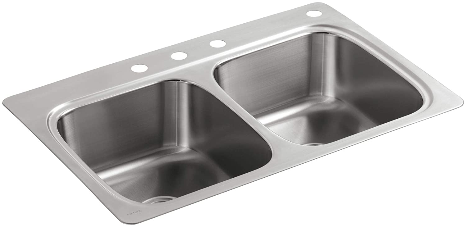 b9ea1be08f KOHLER 5267-4-NA Verse 33 inch x 22 inch x 9-1/4 inch Top-Mount  Double-Equal Bowl Kitchen Sink with 4 Faucet Holes - - Amazon.com