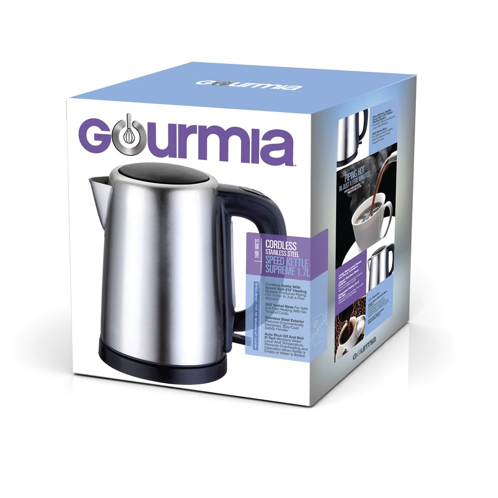 Gourmia GK250 (1.8 Qt/1,7 L) Cordless Stainless Steel Kettle Supreme - Speed Boil - Auto Shutoff Boil Detect - Concealed Element - 360 Swivel Base - 1500 Watts by Gourmia (Image #7)
