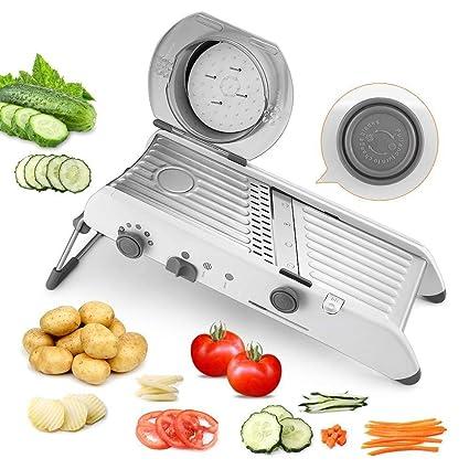 PAVLIT Mandolina Cocina Profesional, Múltiples Cortes por Selector Manual, Mandolina de Acero Inoxidable de Frutas y Verduras, Pie Antideslizante, ...