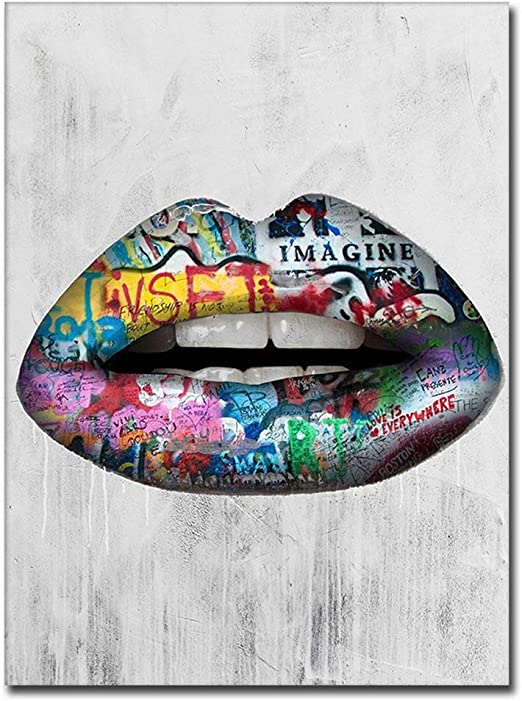 Frameless Abstract Canvas Painting Lips Art Colorful Wall Art Picture Home Decor