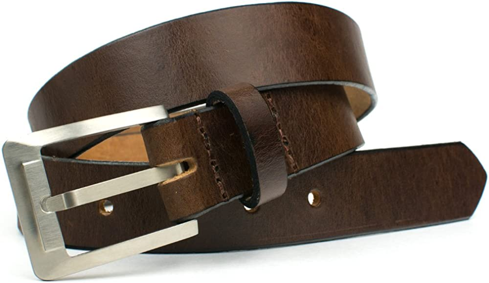 Top Grain Leather Belt with Nickel Free Titanium Buckle Titanium Brown Dress Belt Nickel Smart