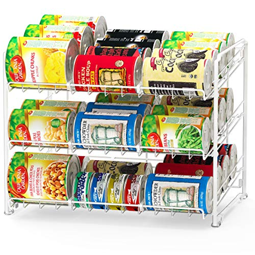 SimpleHouseware Stackable Can Rack Organizer, White (Organizer Wall Gadget)