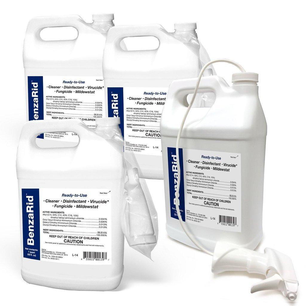 BenzaRid - Hospital Grade Cleaner - (4) Gallon Set - Kills Mold, Mites, MRSA, Odors, Staph, H1N1, H5N1 Viruses, Blood Born Pathogens, Antibacterial, Fungicide, Bug Killer, Flood Damage, Water Damage