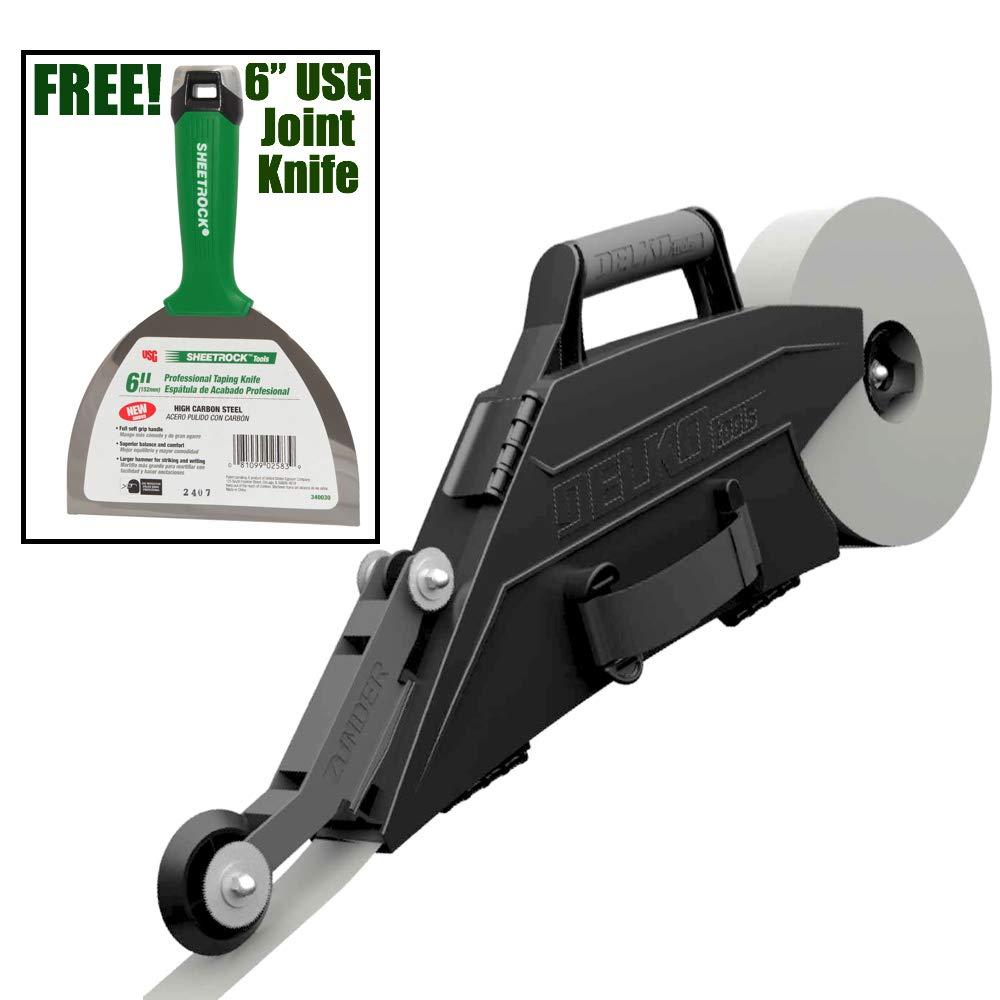 Delko ZUNDER Drywall Banjo Taper Taping Tool with Inside Corner Roller Wheel (Banjo w/USG Joint Knife) by Delko Tools