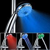 LED doccia a telefono con Tre tipi di acqua, ABS sensore di temperatura LED Doccia a mano / soffione doccia [Classe energetica A +++] LD8008-A21