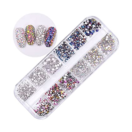 9217efc2dcf3 Pure Vie 1440 piezas 3D Nail Glitter Pedrería para Uñas Decoración de Arte  de Uñas Diamantes Brillantes Preciosas de Acrílico #4