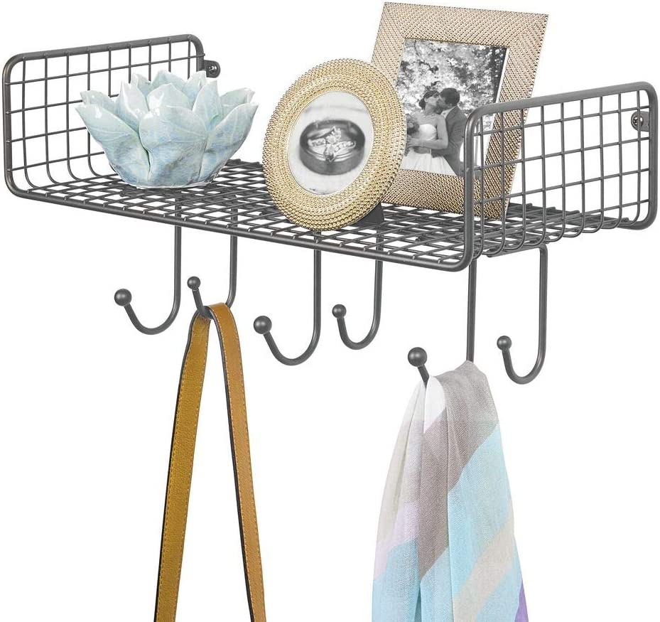 mDesign Metal Wire Farmhouse Wall Decor Storage Organizer Shelf with 6 Hooks for Entryway, Hallway, Mudroom, Bedroom, Bathroom, Laundry Room - Wall Mount - Graphite Gray
