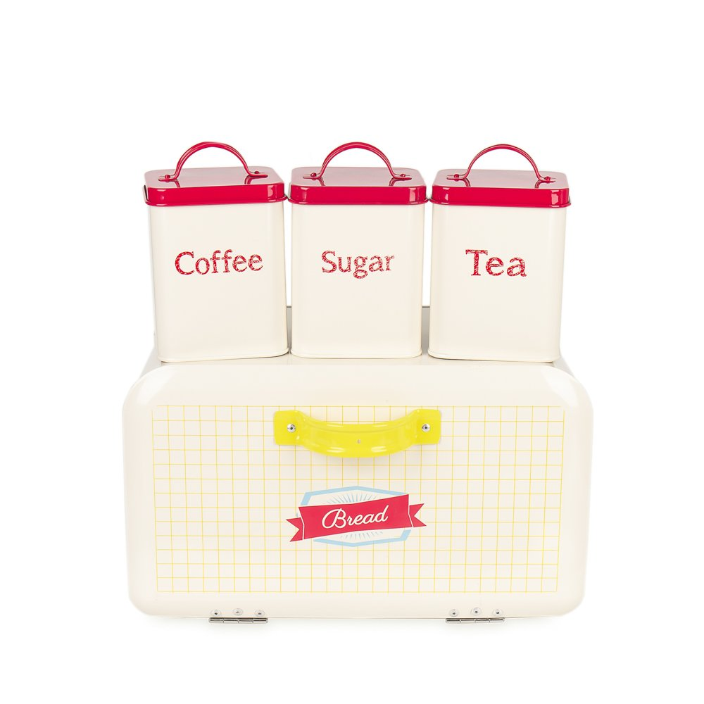 742L Set of 4 Square Metal Vintage Home Kitchen Gifts Tea Coffee Sugar Tin Canister/Bread Box/Bin/Container/Holder