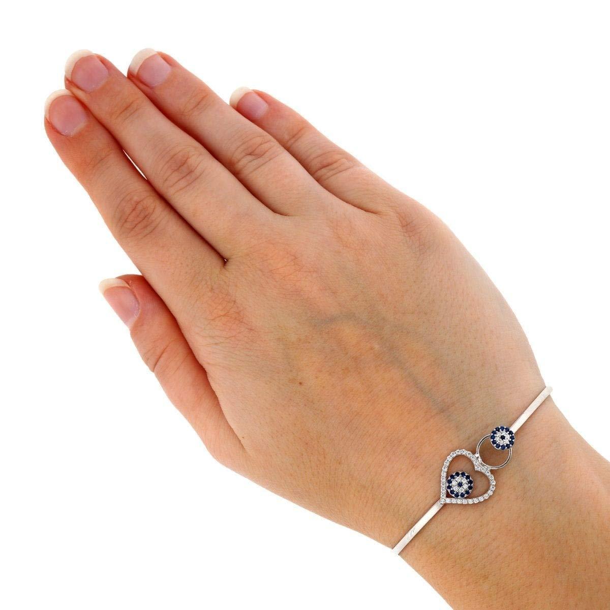 925 Sterling Silver CZ Heart Blue Evil Eye Bangle Bracelet 6.75