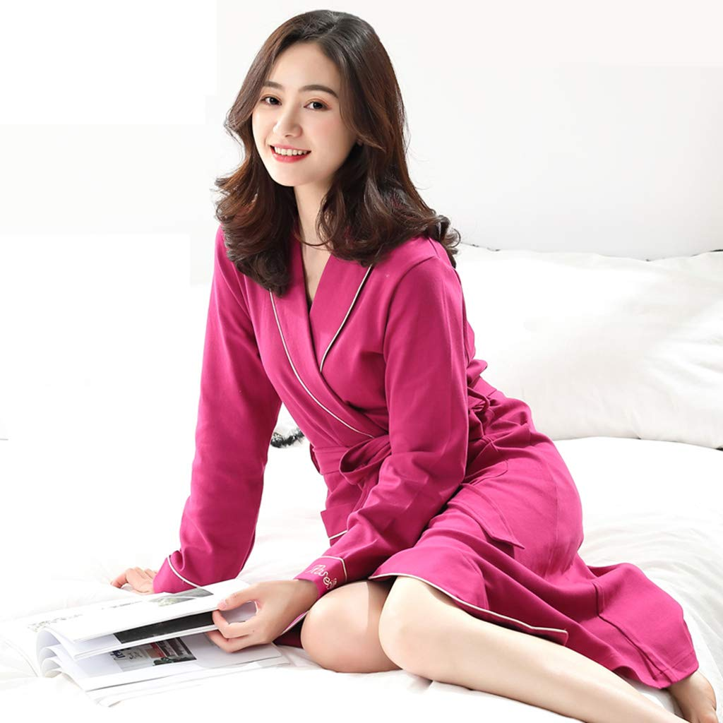 B Nightgown Female Spring and Autumn Cotton Long Section Ladies bathrobe Female Bath Cotton Absorbent Adult lace Cardigan Thin Section
