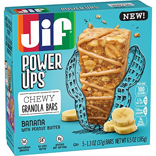 Jif Power Ups Chewy Granola Bars with Peanut Butter, Banana, 40 Count ()